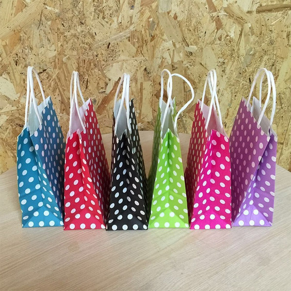 40PCS/lot Polka Dot kraft paper gift bag 21*15*8cm NEW Year children Festival Paper bag with handles Fashionable jewellery bags
