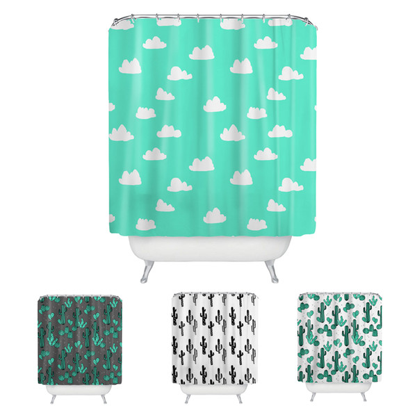 Sweetenlife Clouds& Cactus plant pattern Bathroom Shower Curtain Polyester Fabric Waterproof Bath Curtains Wholesale Bath Screen