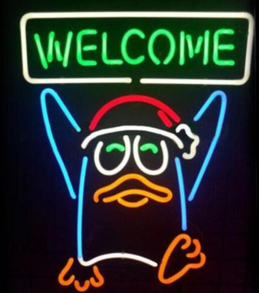 17*14 inches Penguin WELCOME glass tube Neon Light Sign Home Beer Bar Pub Recreation Room Game Lights Windows Glass Wall Signs