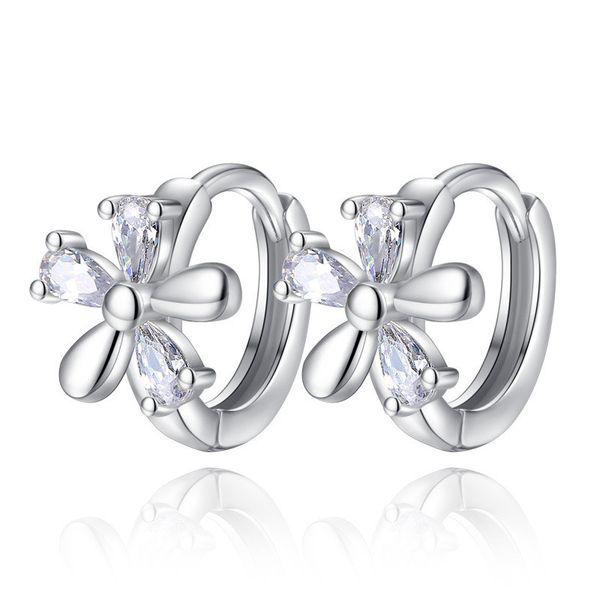 925 Sterling Silver Women Plum Flower Clip Hoop Earrings Korean Cubic Zirconia Silver Color Ear Fashion Ladies Accessories Jewelry K08