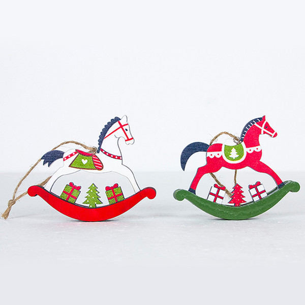 2pcs/set Christs Tree Painted Trojan Horse Pendant Wooden Hanging House Ornament Chritmas Decorations for Home New year gift Y18102909