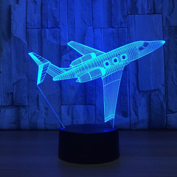 Airplane 3D LED Optical Illusion Lamp Night Light DC 5V USB Charging AA Battery Wholesale Dropshipp Free Shipping