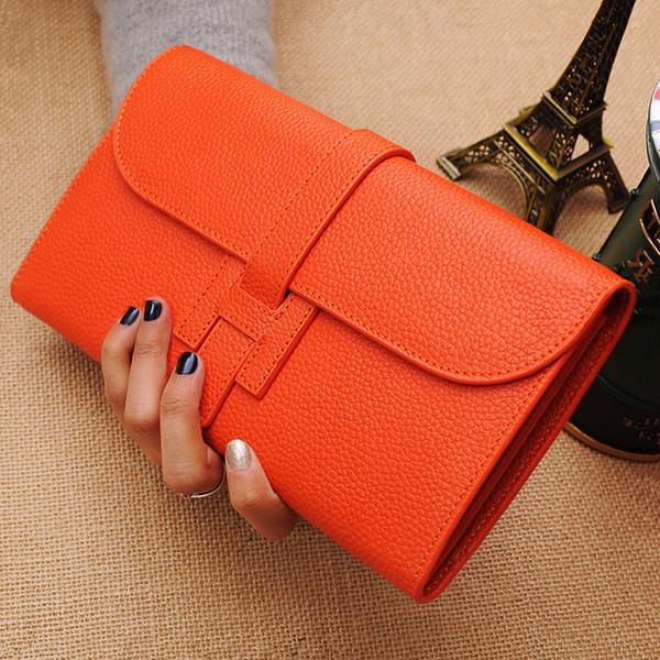 100% vera pelle donna Portafogli e portamonete Moda femminile Portafoglio modello Litchi Morbido borsa lunga borsa di grande capacità titolare della carta