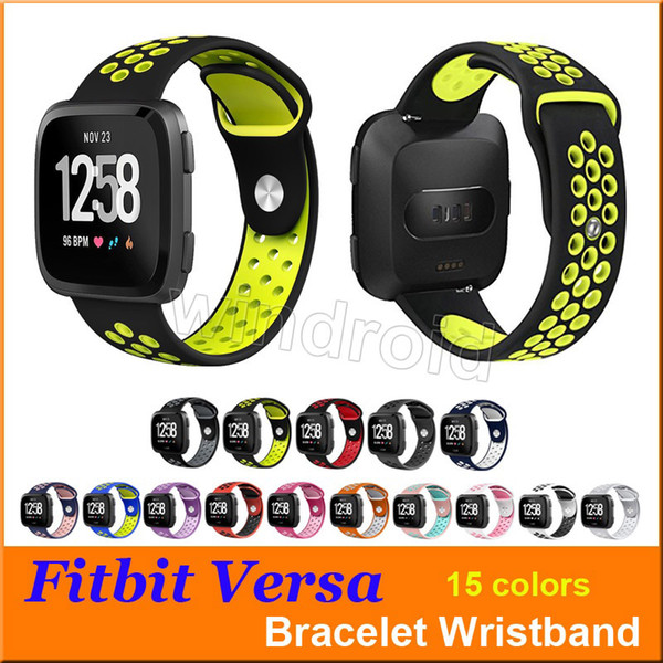 Hot sale Sport Silicone straps Bands for Fitbit Versa Smart watch Bracelet with Ventilation Holes Replacement Wristband Wrist Bands by DHL