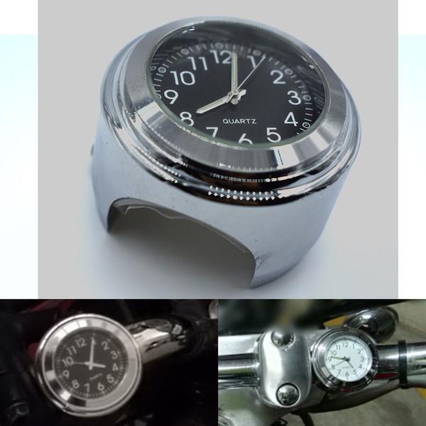 21f159f83 Para motocicleta Bicicleta Cromo Impermeable Negro Dial Manillar Reloj  Resplandor Reloj Para Motocicleta Manillares Monte reloj