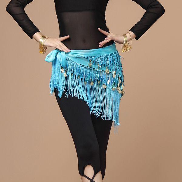 Women belt bellydance scarf hip Belly Dance Accessories Sequins Tassel Triangle Wrap Costume Belt Shawl Chiffon fringe scarf