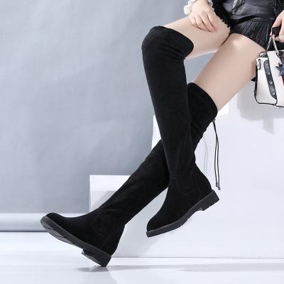 2017 Femmes bottes réel En Cuir de peau de mouton Sexy Mode Sur le genou longues Bottes Sexy Mince Haute Talon Plate-Forme Femmes Chaussures