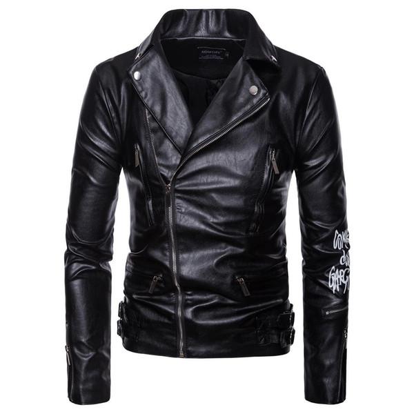 Mens Leather Coat Autumn Winter Motorcycle Bikers Jacket For Mens Plus Size Male PU Leather Clothes Plus Siz Men Leather Overcoat J180747e