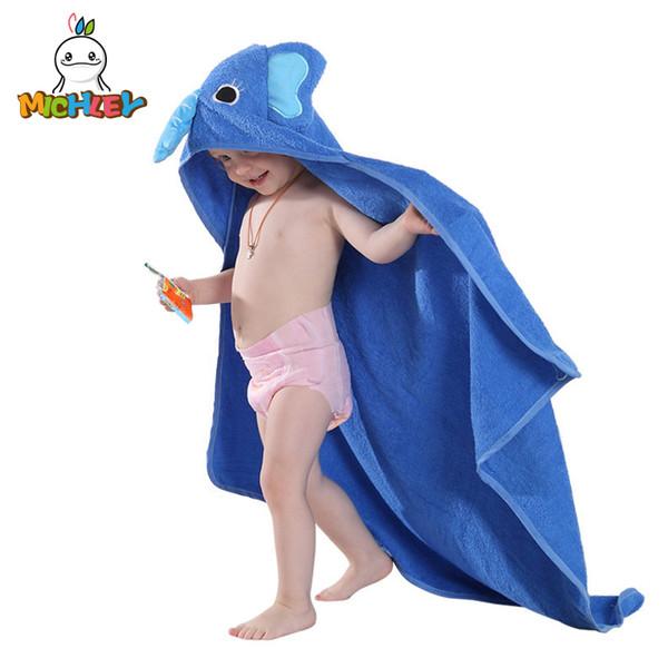 Michley Kids Towel 2018 Toddler 100 %Cotton Bathrobe Baby Boys Girls Spring Animal Hooded Bath Towel Children Cartoon Towel Qwa