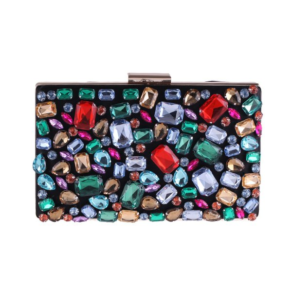 Women's Hand Shell Bag Dress Evening Party And Wedding Clutch Colorful Diamonds Square Dinner Bag