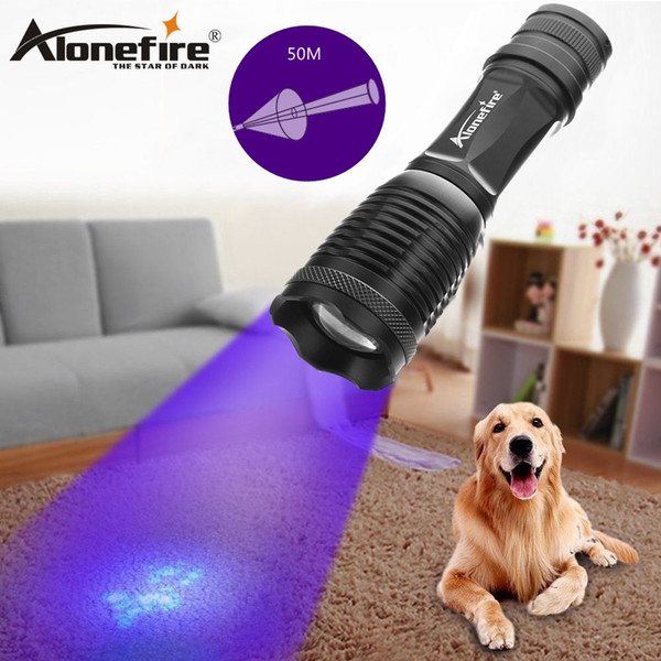 AloneFire High power E007 XPE LED Zoom UV Light Flashlight 395nm torch lamp UV Travel safety detectio 18650 Rechargeable battery