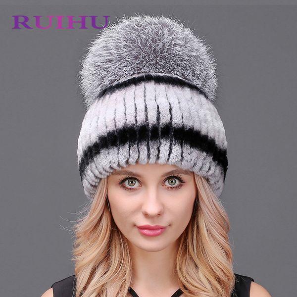 2018 New QiuMei Women Warm Rabbit Fur Hat Fox Fur Sewing Strips Flower head Cap headgear Fashion Women Russian Rabbit Hats
