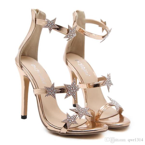 Nuevo Fashionl Mujeres bombas de tacón alto dedo del pie abierto de cinco puntas de diamante estrella Catwalk show estilo sandalias de cristal Sexy Lady zapatos de fiesta más el tamaño