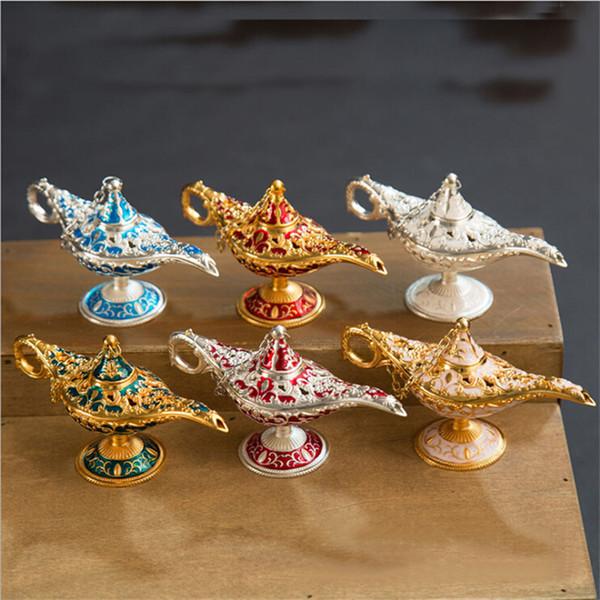 Conto de fadas Aladdin Magia Lâmpada Pote de Chá Genie Lâmpada Incensário Do Vintage Criativo de Metal Queimador De Incenso Multi Cor Queimadores de Incenso Decoração Presentes