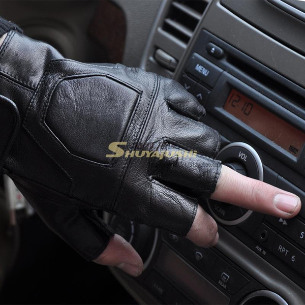 Men driving fingerless gloves sheepskin leather gloves movement fitness half leather half refers to photography