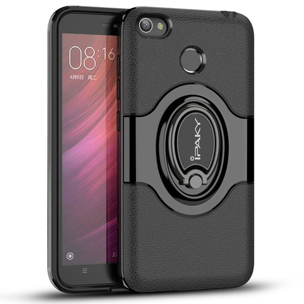 iPaky Case For Redmi 4X Ring Stand Holder Back Cover PC+TPU Drop-proof Cases With Vehicle Magnetic function Retail Package In Stock
