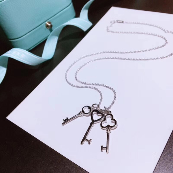 Famous Luxury Brand S925 Sterling Silver Three Keys Charm Pendant Short Chain Necklace For Women Jewelry