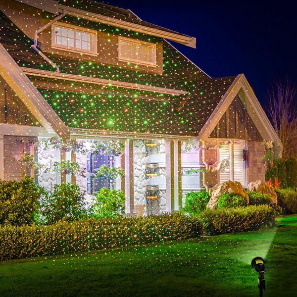 Christmas Garden Lawn Decoration Light Moving Snow Snowflake Star Laser Light Projector Shower Park Garden Xmas Snowflake Discount Outdoor Christmas