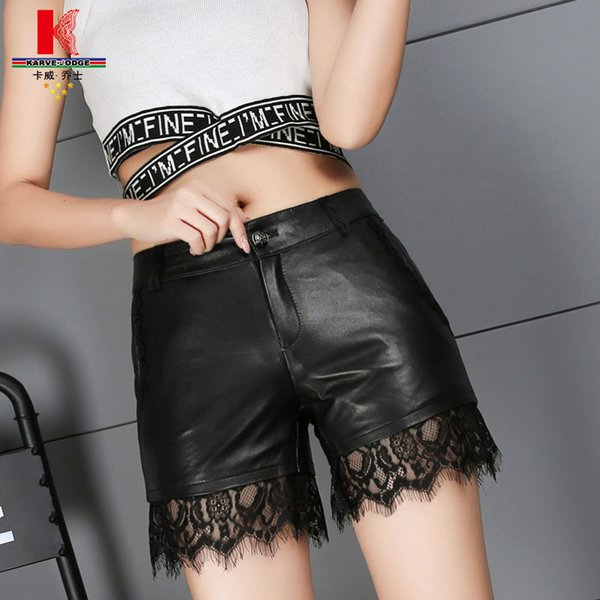 2018 New Spring Pants Mujeres Lace Short Sexy Prey Trendy New Look Moda coreana Plus Size Leather Short Pants Negro