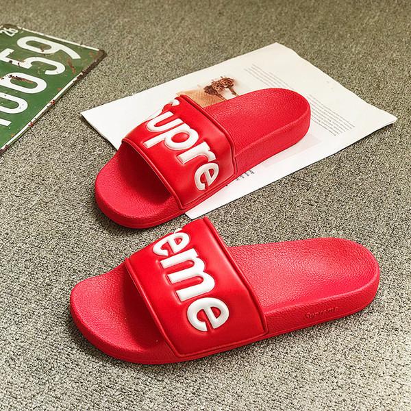 Designer Hausschuhe Neue Marke Buchstaben Desinger Slides Herren Flip-Flops Sommer Rutschfestigkeit Strand Flache Hausschuhe Schuhe 4 Farben Optional