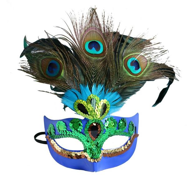 Mujeres Elegante Máscara de plumas de Pavo Real Traje de Las Muchachas Sexy Fiesta de Halloween Máscara de Mascarada de Pavo Real de Pavo Real Máscaras de Danza Accesorios