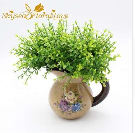 Disposizione di fiori artificiali piante verdi 10 pz / lotto Fiori in vaso con erba mini foglie di eucalipto pianta artificiale