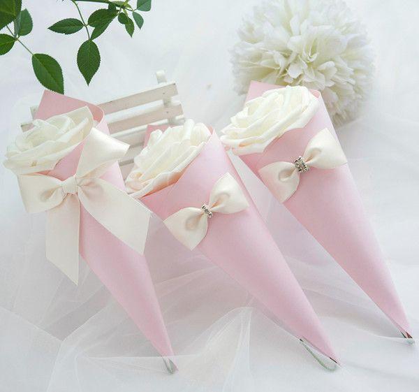 Rosa Box + weiße Rose + weißes Band