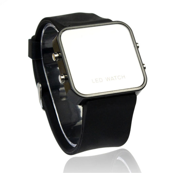 Couple Men Woman Watches Mini LED Digital Calendar Day/Date Silicone Unisex Sport Mirror Wholesale Price A30