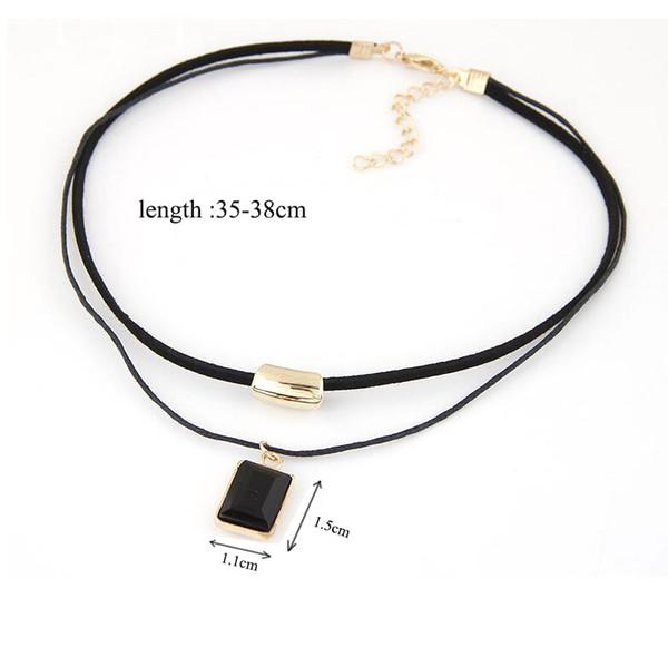 Black Charm Velvet Choker Gold Chain Necklace Gothic Bar Square Rhinestone Pendant Women Collar Chocker Necklaces