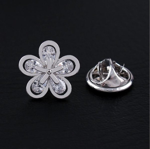 Personalities Fashion Crystal Plum Small Brooch Men and Women Shirt Collar Needle YP3353