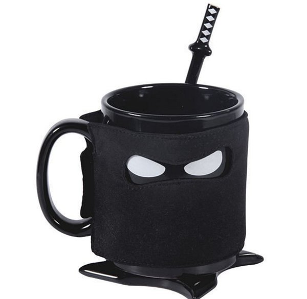 Creative Ninja Mug Black Mask Ceramic Cup With Spoon Sword Coffee Milk Mugs Novelty Gifts