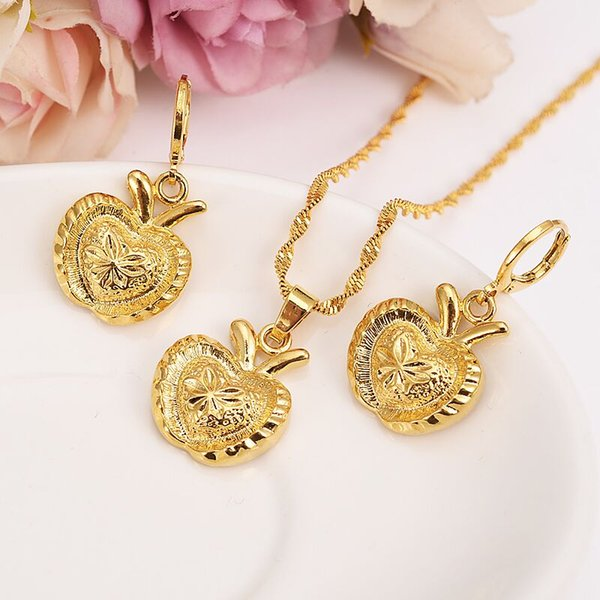 New Christmas 14k Yellow Fine gold Filled carve big apple Bridal Jewelry Set Rabbit ear pendant Earrings kids Wedding Jewelry gift