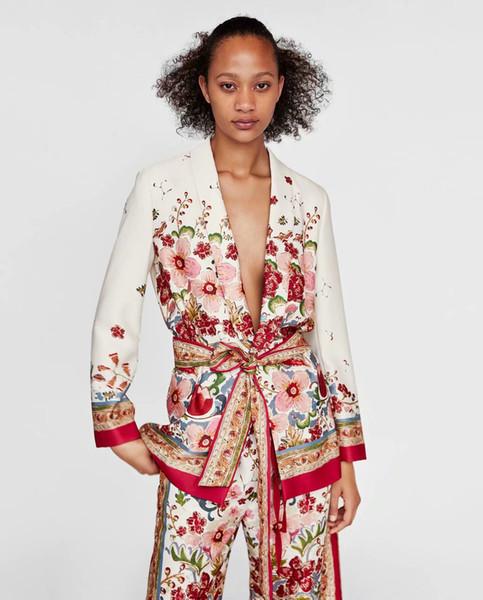 Alta calidad rojo blanco estampado floral de manga larga Outwear algodón Blazer rock estilo Mango más tamaño blazer feminino mujer abrigos Blazer largo
