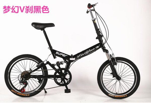 Folding Bike 20 inch 6 speed double disc V Brake mountain Bicycles Suspension Steel Frame Aluminum Wheel 17kgs Folding Handlebar
