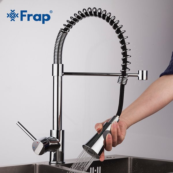 wholesale Spring Kitchen faucet Swivel Spout Single Handle Tap Pull out Spray Sink Chrome With Push Button Pull Down Faucets F4452