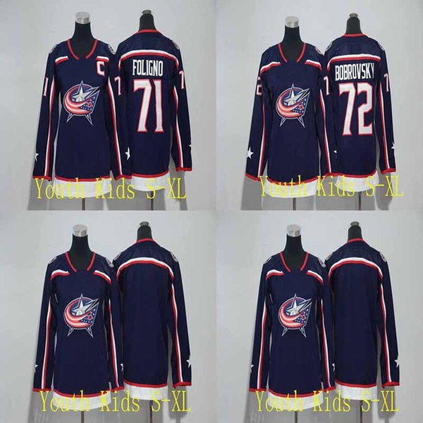 Youth Kids 71 Nick Foligno Jersey 2017-2018 Season 72 Sergei Bobrovsky Columbus Blue Jackets Blank Boys Hockey Jerseys Cheap