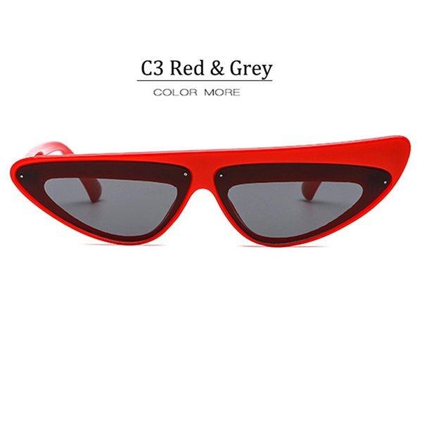C3 Lunette Gris Cadre Rouge