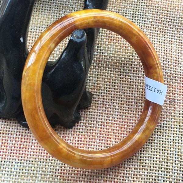 55.7mm Certificado (Grau A) 100% Natural Amarelo Jadeite JADE Pulseira 5407
