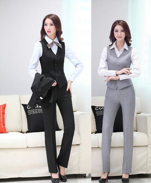 Yeni Üniforma Tasarım İlkbahar Yaz Profesyonel Iş Takım Elbise Yelek + Pantolon Kadın Blazers Bayanlar Ofis Pantolon Seti Için Artı Boyutu