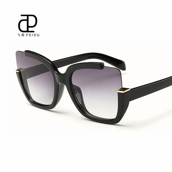 FEIDU 2016 Yeni Seksi Kedi Göz Güneş Kadınlar Için Marka Tasarımcısı Kaplama Ayna Güneş Gözlükleri Sürüş Oculos De Sol Feminino