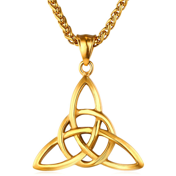 316L Stainless Steel Good Luck Charmed Celtic Knot Triquetra Amulet Pendant Necklace with Link Chain VICHOK