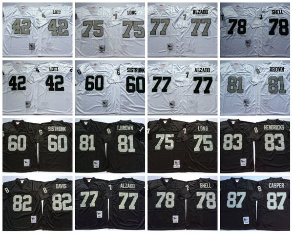 quality design e0875 f4084 2019 Retro Jersey 77 Lyle Alzado 42 Ronnie Lott 75 Howie Long 83 Ted  Hendricks 60 Otis Sistrunk 82 Al Davis 87 Casper Black Jerseys Size M XXXL  From ...