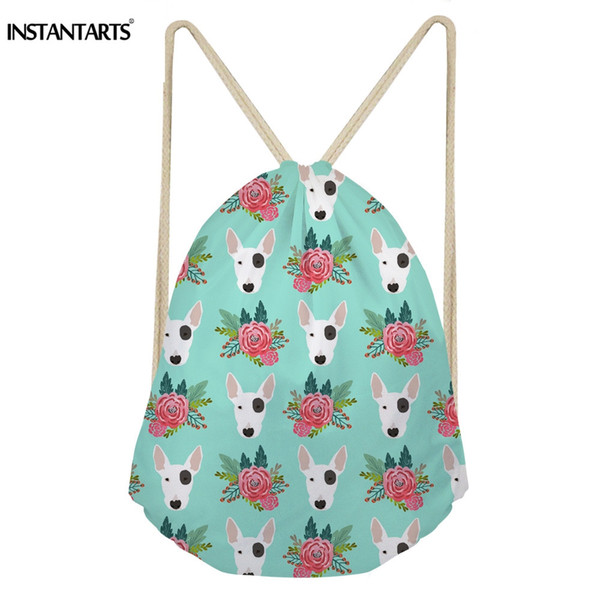 INSTANTARTS Drawstring Bag Women Small Backpack String Sack Drawstring Bagpack Cute Bull Terrier Boston Dog Floral Print Bookbag