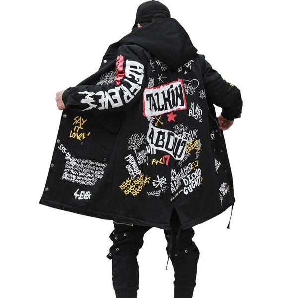 2017 Kış erkek Yeni Parkas ceket Graffiti Baskı Kapşonlu Pamuk Wadded Coats Yüksek Sokak Hip Hop Uzun yastıklı Kalın Kabanlar
