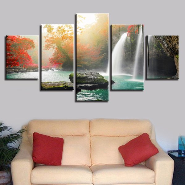 Living Room Wall Art Paintings Decor HD Printed Modern 5 Pieces Waterfall Red Tree Natural Scenery Poster Modular Canvas Picture