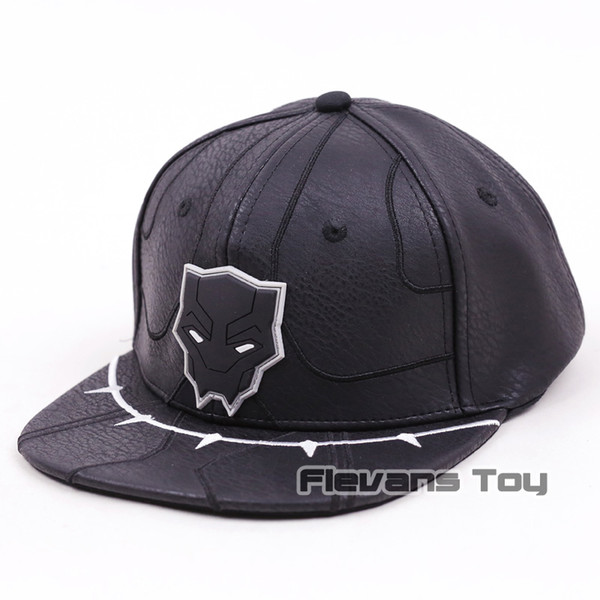 2018 Movie Black Panther Cosplay Hats Adult Black Leather Adjustable Snapback Baseball Caps Accessories Gift