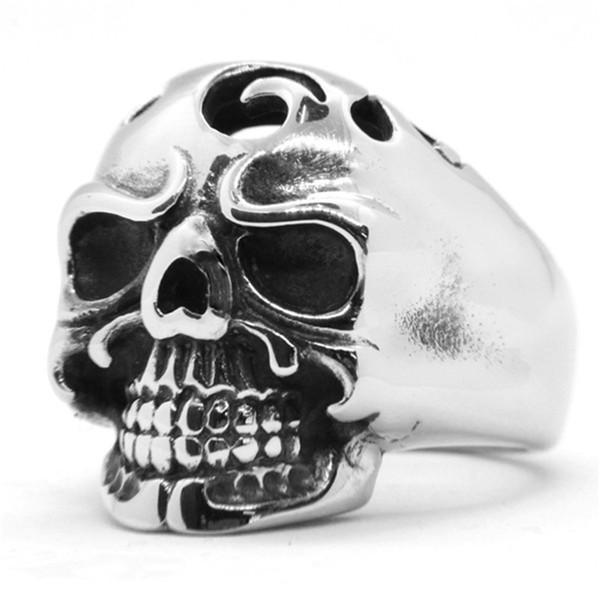 1pc Newest Polish Ghost Skull Ring 316L Stainless Steel Popular Fashion Biker Dead Skull Ring