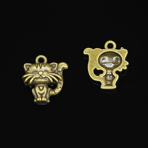 75pcs Zinc Alloy Charms Antique Bronze Plated smiling cat Charms for Jewelry Making DIY Handmade Pendants 19*17mm