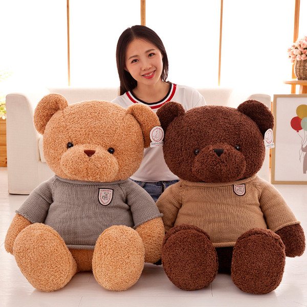 54be3321cff 90cm large size Plush Toy Teddy Bear Hug brown Bear Doll stuffed animal  Girlfriend Birthday Gift Girl Cute Curly cildren R044