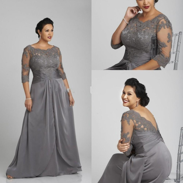 Plus Size Grey Mother Of the Bride Dresses Sheer Neck Lace Applique Open Back Vintage 3/4 Long Sleeves Women Formal Evening Gowns